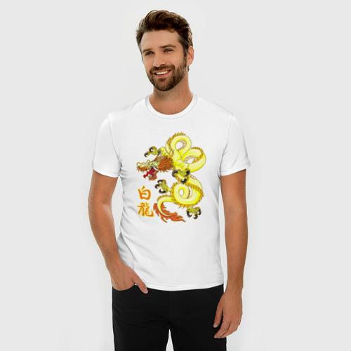 Мужская футболка премиум  Фото 03, Белый дракон