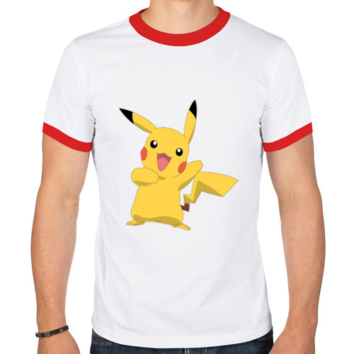 Мужская футболка рингер  Фото 01, Пикачу