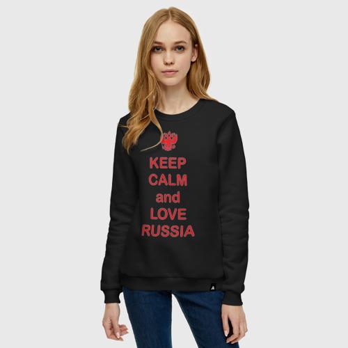 Женский свитшот хлопок KEEP CALM and LOVE RUSSIA Фото 01