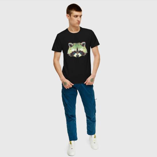 Мужская футболка хлопок Енот, Мордочка енота Фото 01