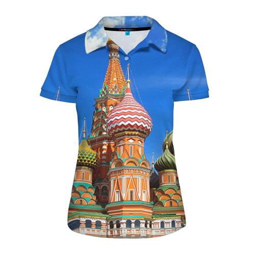 Женская рубашка поло 3D Храм Василия Блаженного