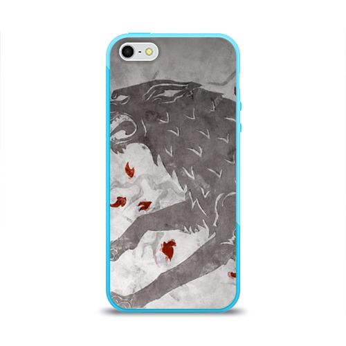 Чехол для Apple iPhone 5/5S силиконовый глянцевый Волк Старков