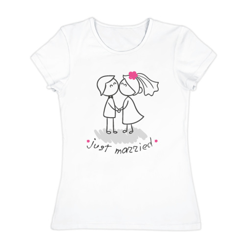 Женская футболка хлопок  Фото 01, Молодожены
