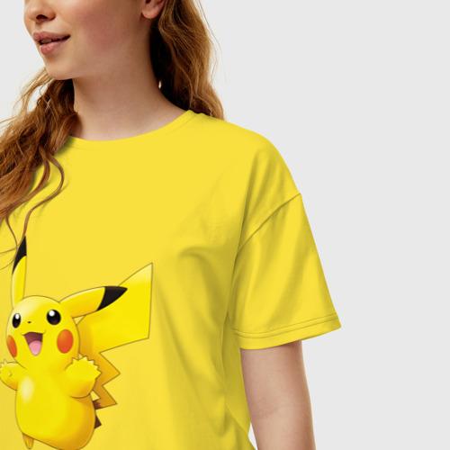 Женская футболка хлопок Oversize Пикачу Фото 01