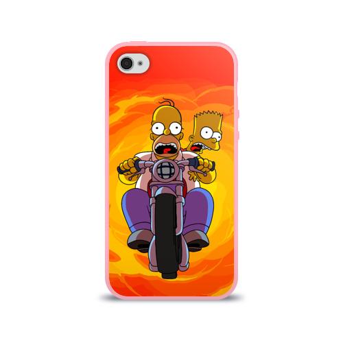 """Чехол силиконовый глянцевый для Apple iPhone 4 """"Симпсоны на байке"""" - 1"""