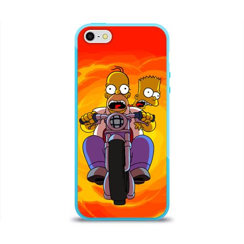 Чехол для Apple iPhone 5/5S силиконовый глянцевый Симпсоны на байке