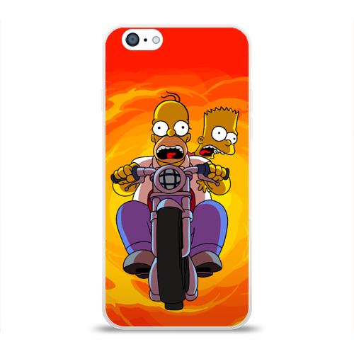"""Чехол силиконовый глянцевый для Apple iPhone 6 """"Симпсоны на байке"""" - 1"""
