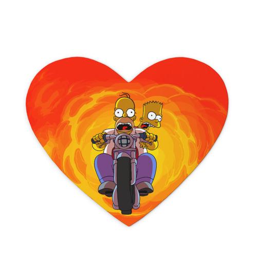 Коврик для мыши сердце Симпсоны на байке
