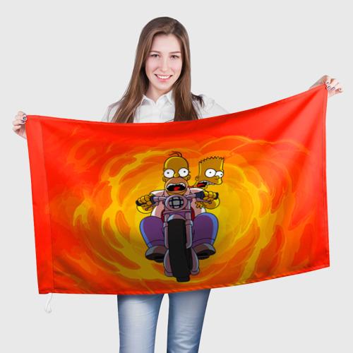 Флаг 3D Симпсоны на байке