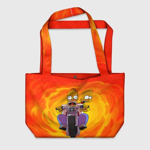Пляжная сумка 3D Симпсоны на байке Фото 01