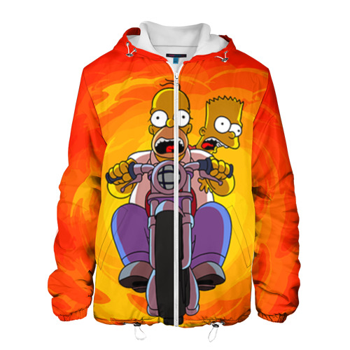 Мужская куртка 3D Симпсоны на байке