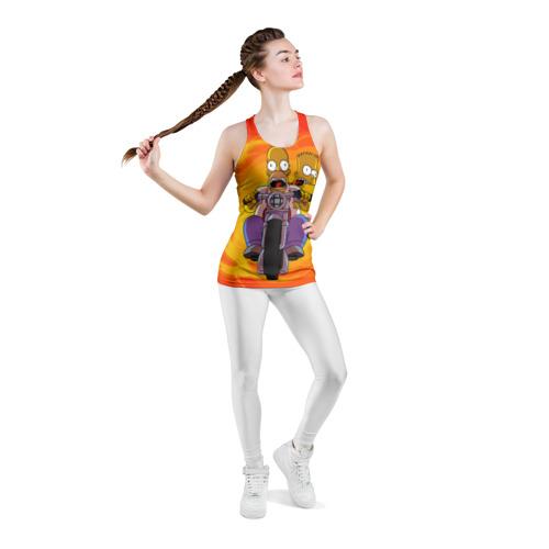 Женская майка 3D спортивная  Фото 05, Симпсоны на байке