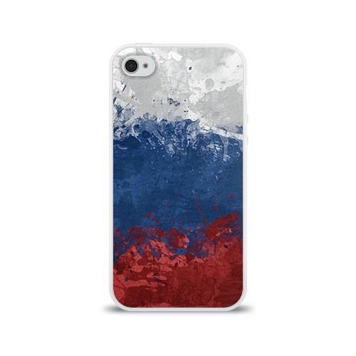 Чехол для Apple iPhone 4/4S силиконовый глянцевый Флаг России