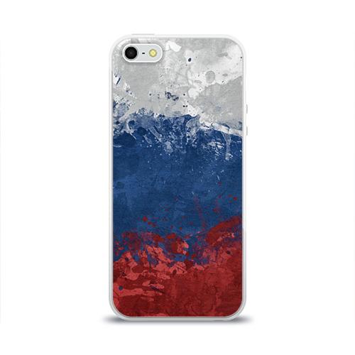 Чехол для Apple iPhone 5/5S силиконовый глянцевый Флаг России