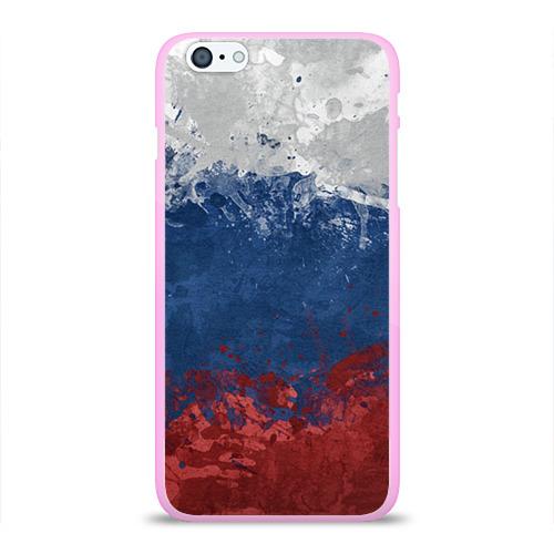 """Чехол силиконовый глянцевый для Apple iPhone 6 Plus """"Флаг России"""" - 1"""