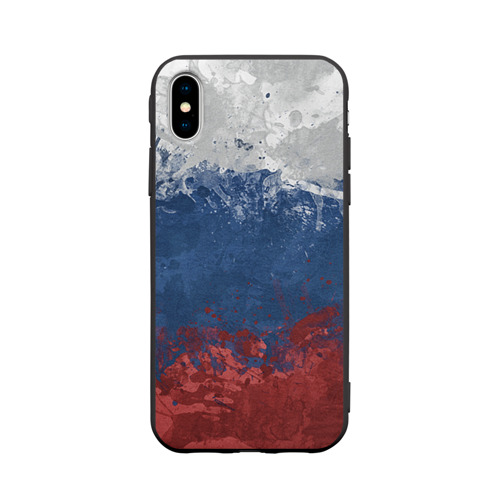 Чехол для iPhone X матовый Флаг России Фото 01