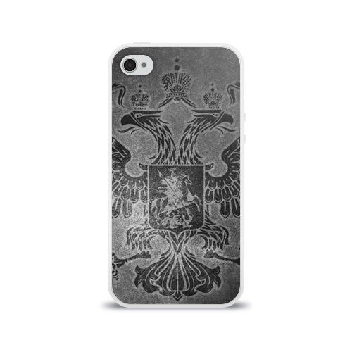 Чехол для Apple iPhone 4/4S силиконовый глянцевый Герб России