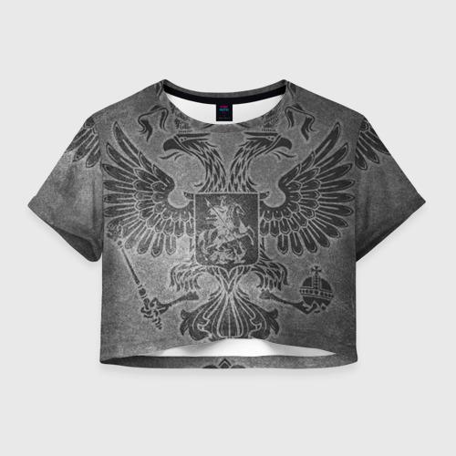 Женская футболка Crop-top 3D Герб России Фото 01