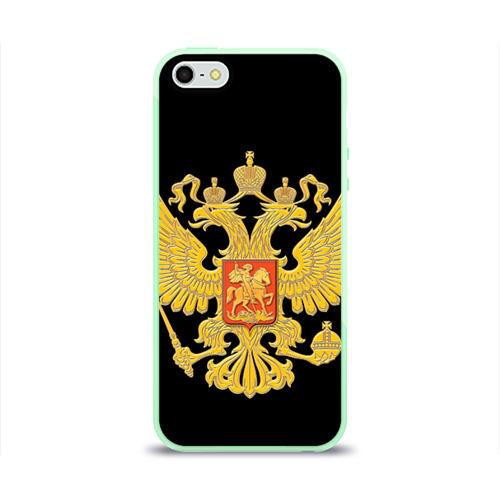 Чехол для Apple iPhone 5/5S силиконовый глянцевый Герб России