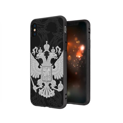 Чехол для Apple iPhone X силиконовый матовый Герб России Фото 01