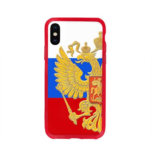 Чехол для Apple iPhone X силиконовый глянцевый Флаг и герб РФ