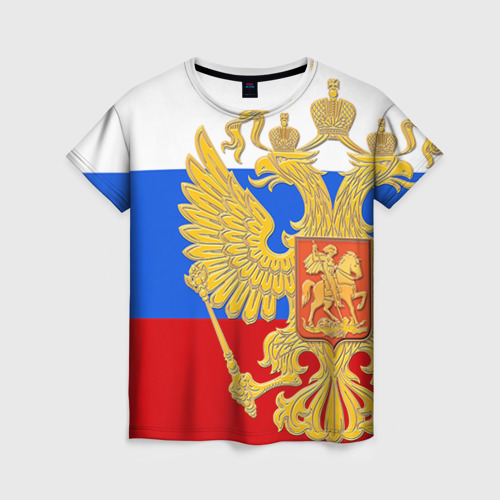 Женская футболка 3D Флаг и герб РФ