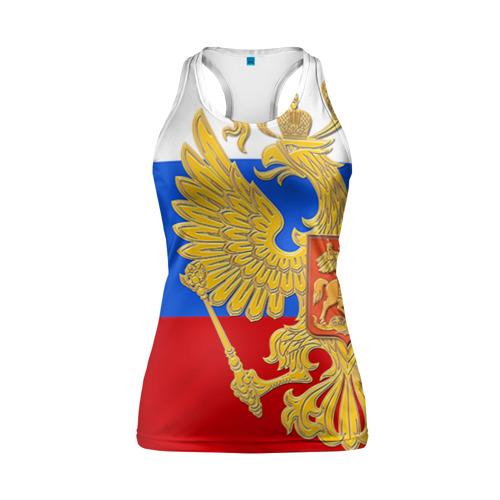 Женская майка 3D спортивная Флаг и герб РФ