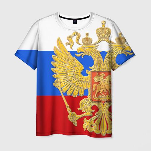 Мужская футболка 3D  Фото 01, Флаг и герб РФ