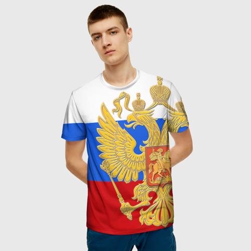 Мужская футболка 3D  Фото 03, Флаг и герб РФ