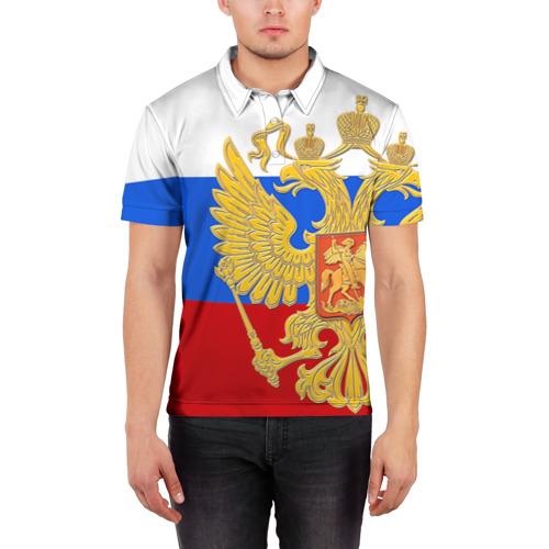 Мужская рубашка поло 3D  Фото 03, Флаг и герб РФ