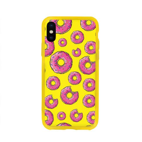 Чехол для Apple iPhone X силиконовый глянцевый Пончики Фото 01