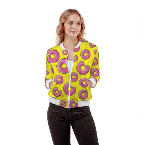 Женский бомбер 3D  Фото 03, Пончики