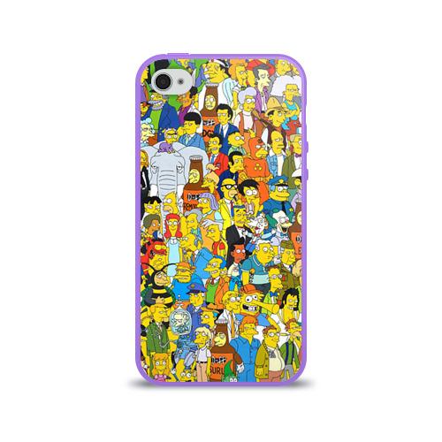 Чехол для Apple iPhone 4/4S силиконовый глянцевый Симпсоны