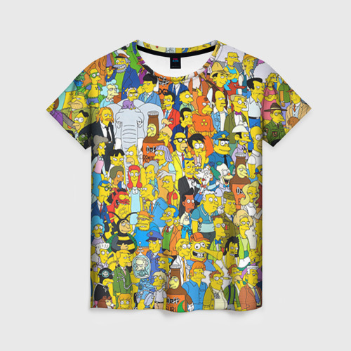 """Женская футболка 3D с полной запечаткой """"Симпсоны"""" - 1"""