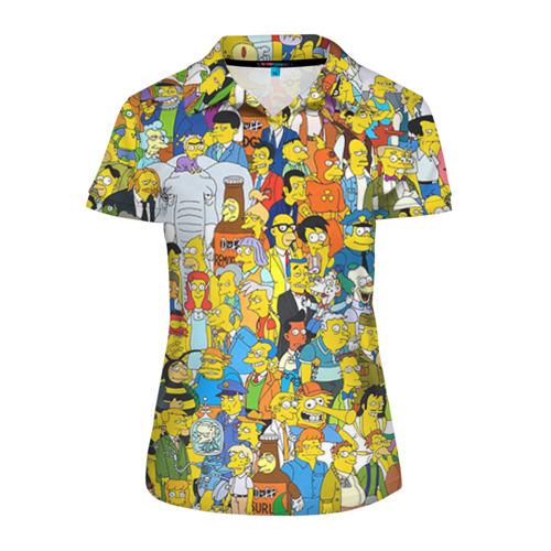 Женская рубашка поло 3D Симпсоны
