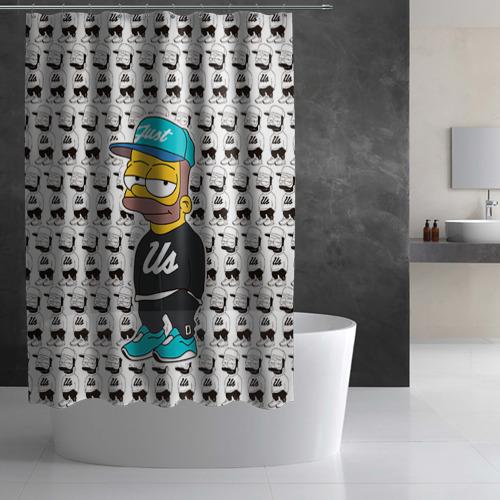 Штора 3D для ванной  Фото 02, Барт Симпсон