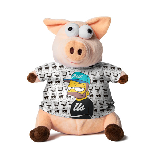 Свинка в футболке 3D Барт Симпсон