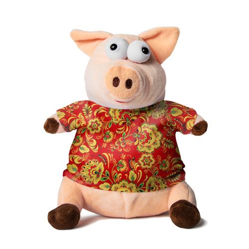 Свинка в футболке 3D Хохлома