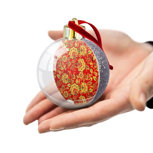 Ёлочный шар с блестками  Фото 03, Хохлома