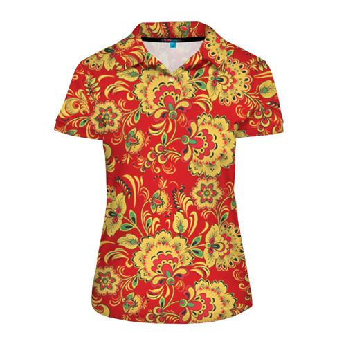 Женская рубашка поло 3D Хохлома