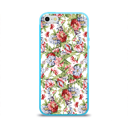 Чехол для Apple iPhone 5/5S силиконовый глянцевый Цветы