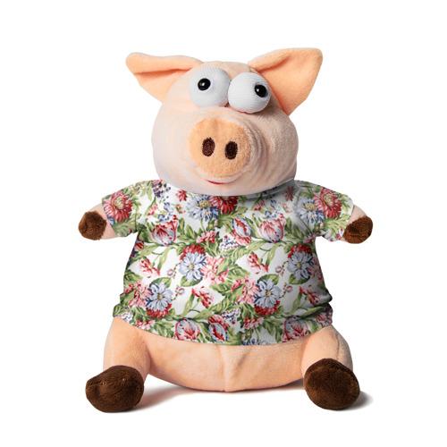 Свинка в футболке 3D Цветы