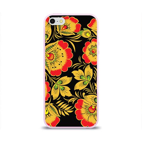Чехол для Apple iPhone 5/5S силиконовый глянцевый Хохлома