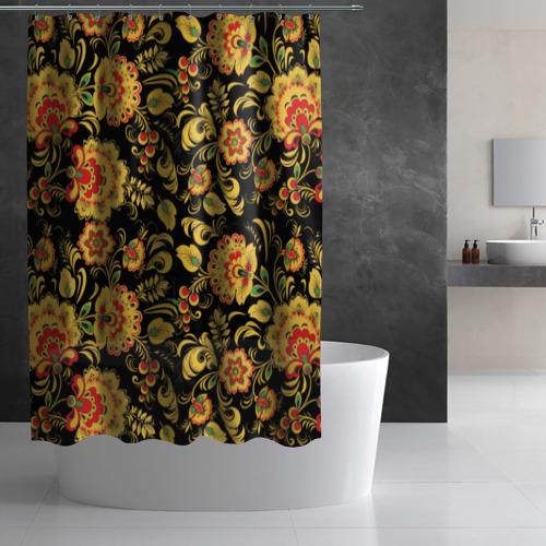Штора 3D для ванной Хохлома Фото 01