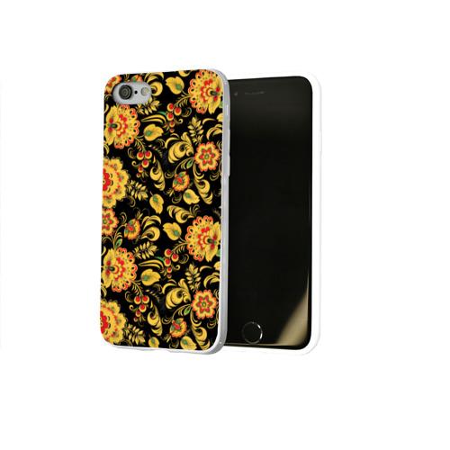 Чехол для Apple iPhone 8 силиконовый глянцевый Хохлома Фото 01