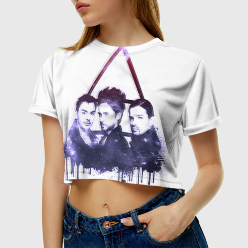 Женская футболка 3D укороченная  Фото 01, 30 seconds to mars