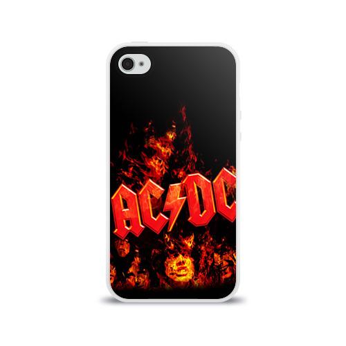 Чехол для Apple iPhone 4/4S силиконовый глянцевый AC/DC