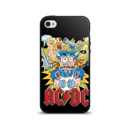 Чехол для Apple iPhone 4/4S силиконовый глянцевый AC/DC от Всемайки