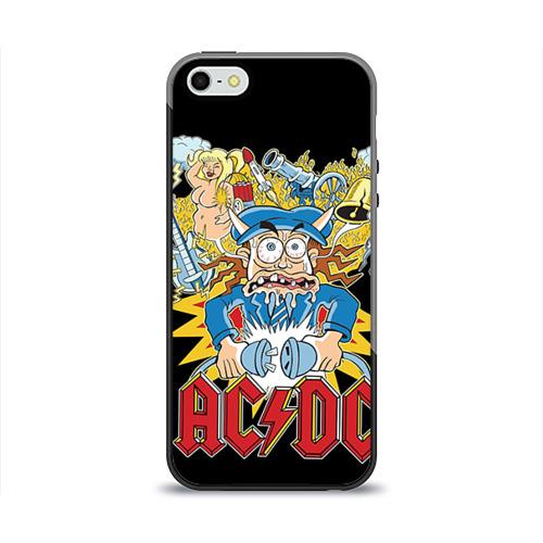 Чехол силиконовый глянцевый для Телефон Apple iPhone 5/5S AC/DC от Всемайки