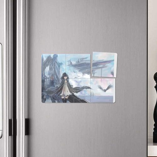 Магнитный плакат 3Х2 Девушка на небесном корабле Фото 01